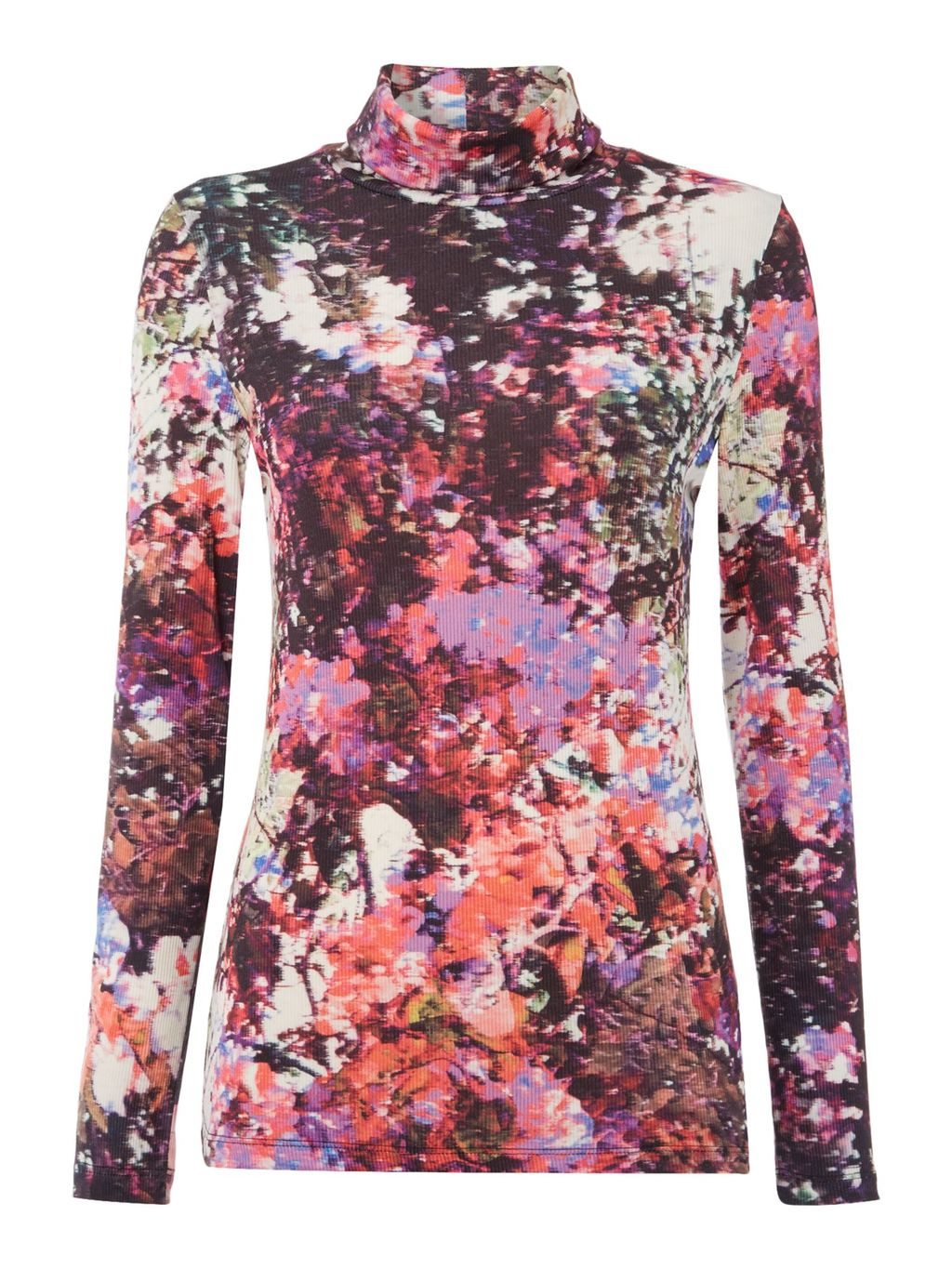 Print Longsleeve Rollneck Top, Multi Coloured - neckline: high neck; predominant colour: pink; secondary colour: pink; occasions: casual; length: standard; style: top; fibres: polyester/polyamide - stretch; fit: body skimming; sleeve length: long sleeve; sleeve style: standard; pattern type: fabric; pattern: florals; texture group: jersey - stretchy/drapey; multicoloured: multicoloured; season: s/s 2016; trends: vivid mix
