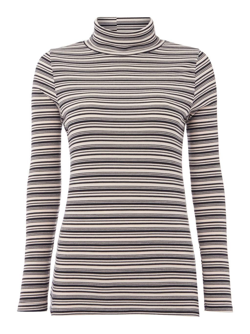 Stripe Longsleeve Rollneck Top, Black/Brown - pattern: horizontal stripes; neckline: roll neck; predominant colour: black; occasions: casual, creative work; length: standard; style: top; fibres: polyester/polyamide - stretch; fit: body skimming; sleeve length: long sleeve; sleeve style: standard; pattern type: fabric; texture group: jersey - stretchy/drapey; pattern size: big & busy (top); multicoloured: multicoloured; season: s/s 2016