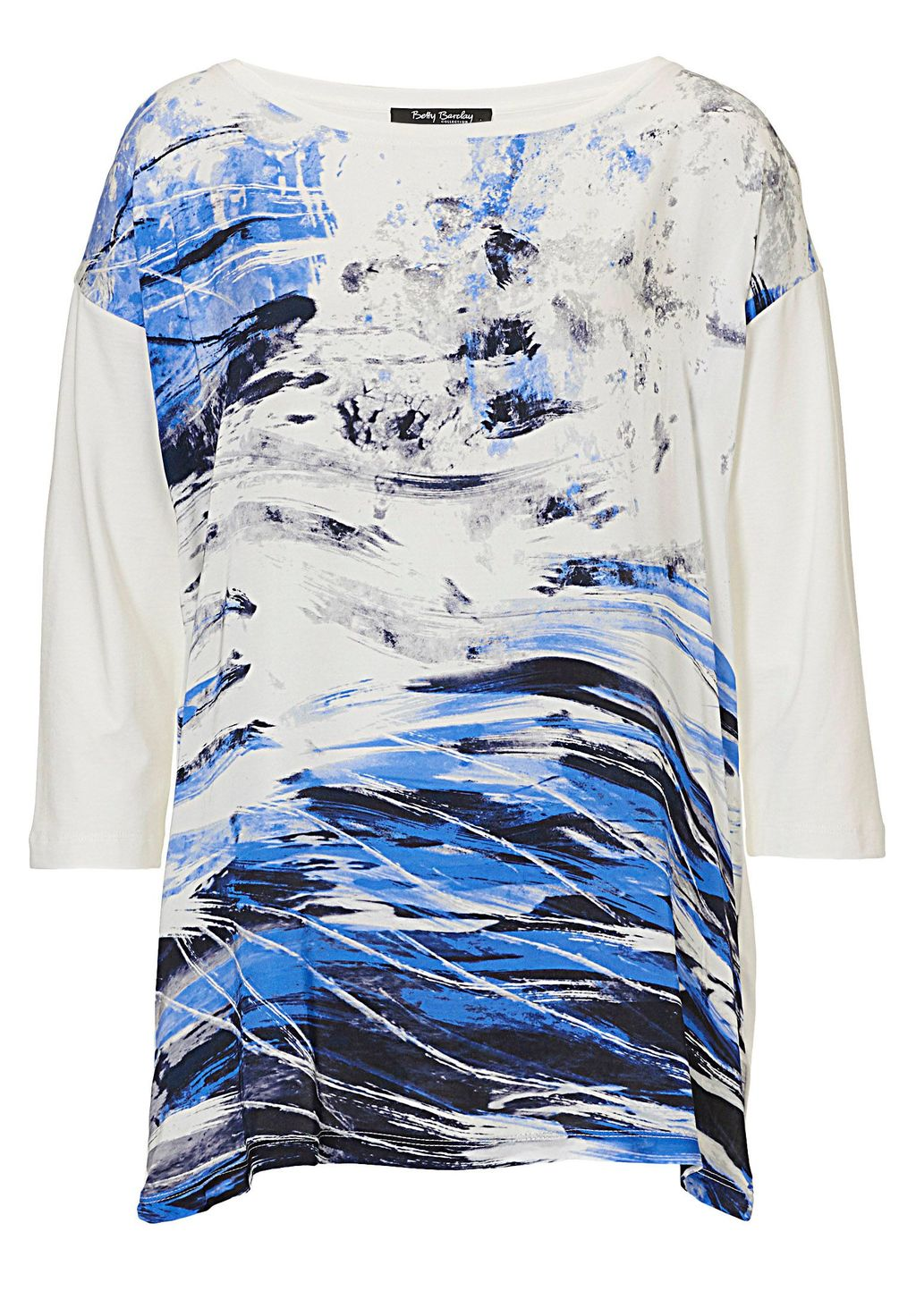 Abstract Print Top, Navy - neckline: round neck; predominant colour: white; secondary colour: diva blue; occasions: casual, creative work; style: top; fibres: viscose/rayon - stretch; fit: loose; length: mid thigh; sleeve length: 3/4 length; sleeve style: standard; pattern type: fabric; pattern: patterned/print; texture group: other - light to midweight; pattern size: big & busy (top); season: s/s 2016; wardrobe: highlight