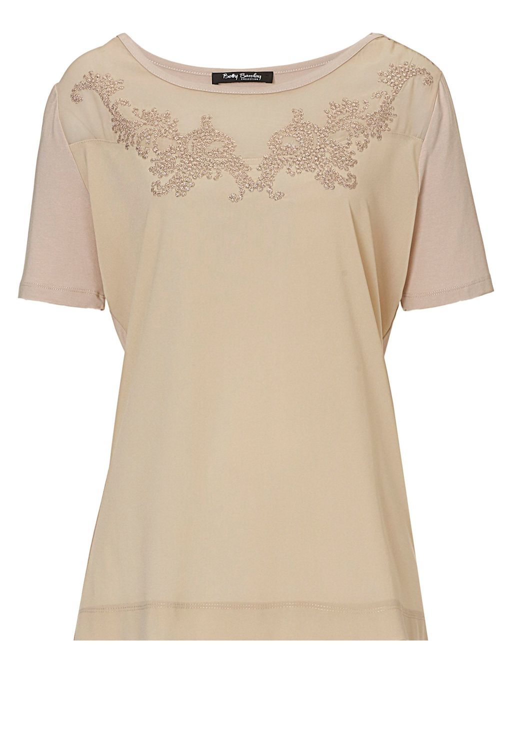 Short Sleeved Embellished Top, Beige - neckline: round neck; pattern: plain; bust detail: added detail/embellishment at bust; predominant colour: nude; occasions: casual; length: standard; style: top; fibres: viscose/rayon - stretch; fit: body skimming; sleeve length: short sleeve; sleeve style: standard; pattern type: fabric; texture group: jersey - stretchy/drapey; embellishment: embroidered; season: s/s 2016