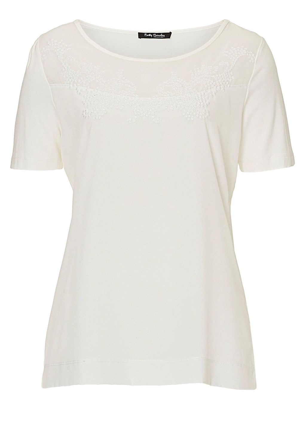 Short Sleeved Embellished Top, Off White - neckline: round neck; pattern: plain; predominant colour: white; occasions: casual; length: standard; style: top; fibres: viscose/rayon - stretch; fit: body skimming; sleeve length: short sleeve; sleeve style: standard; pattern type: fabric; texture group: jersey - stretchy/drapey; embellishment: lace; season: s/s 2016; wardrobe: highlight
