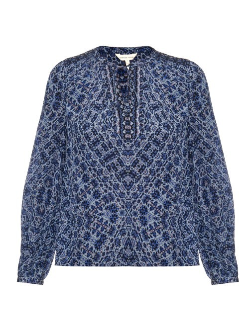 Floral Print Silk Top - neckline: round neck; predominant colour: royal blue; occasions: casual, work; length: standard; style: top; fibres: silk - 100%; fit: body skimming; sleeve length: long sleeve; sleeve style: standard; texture group: silky - light; pattern type: fabric; pattern: florals; pattern size: big & busy (top); season: s/s 2016; wardrobe: highlight