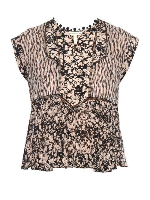Floral Print Silk Crepe Top - neckline: round neck; sleeve style: capped; predominant colour: blush; secondary colour: black; occasions: casual, work, creative work; length: standard; style: top; fibres: silk - 100%; fit: body skimming; sleeve length: short sleeve; texture group: crepes; bust detail: tiers/frills/bulky drapes/pleats; pattern type: fabric; pattern: florals; pattern size: big & busy (top); season: s/s 2016
