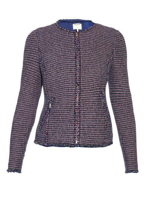 Collarless Graphic Tweed Jacket - pattern: plain; style: single breasted blazer; collar: round collar/collarless; fit: slim fit; predominant colour: navy; occasions: casual; length: standard; fibres: polyester/polyamide - mix; sleeve length: long sleeve; sleeve style: standard; collar break: high; pattern type: fabric; texture group: tweed - light/midweight; season: s/s 2016; wardrobe: basic