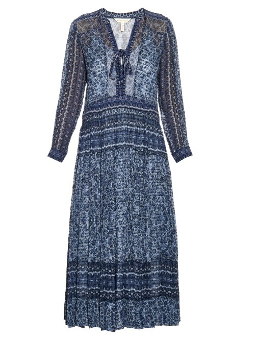 Paisley Print Silk And Cotton Blend Midi Dress - neckline: low v-neck; style: maxi dress; length: ankle length; secondary colour: white; predominant colour: navy; occasions: casual; fit: soft a-line; fibres: silk - mix; hip detail: subtle/flattering hip detail; sleeve length: long sleeve; sleeve style: standard; texture group: sheer fabrics/chiffon/organza etc.; pattern type: fabric; pattern: patterned/print; season: s/s 2016; wardrobe: highlight