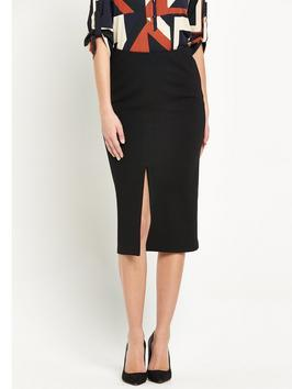 Midi Split Front Skirt - length: below the knee; pattern: plain; style: pencil; fit: tight; waist: mid/regular rise; predominant colour: black; fibres: polyester/polyamide - stretch; pattern type: fabric; texture group: other - light to midweight; occasions: creative work; season: s/s 2016; wardrobe: basic