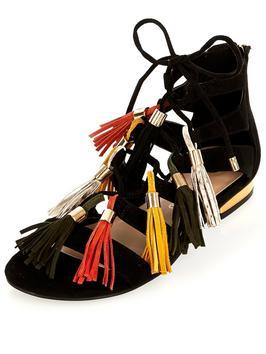 Mega Tassel Caged Flat Gladiator Sandal - secondary colour: terracotta; predominant colour: black; occasions: casual, holiday; material: faux leather; heel height: flat; embellishment: tassels; ankle detail: ankle tie; heel: standard; toe: open toe/peeptoe; style: strappy; finish: plain; pattern: colourblock; multicoloured: multicoloured; season: s/s 2016; trends: festival; wardrobe: highlight