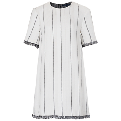 Riviera Tweed Tunic Dress, White/Black - style: tunic; length: mid thigh; pattern: vertical stripes; predominant colour: white; secondary colour: mid grey; occasions: casual; fit: body skimming; fibres: polyester/polyamide - mix; neckline: crew; sleeve length: short sleeve; sleeve style: standard; pattern type: fabric; texture group: other - light to midweight; multicoloured: multicoloured; season: s/s 2016; trends: graphic stripes