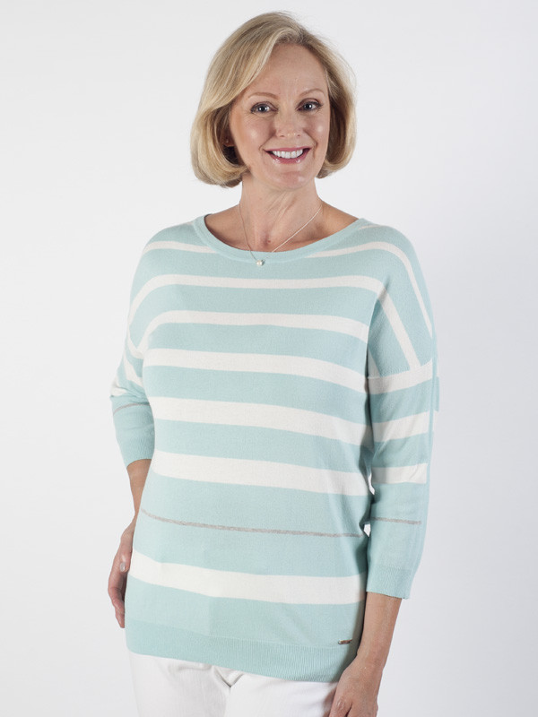 Basler Mint Stripe Fine Knit Jumper - pattern: horizontal stripes; style: standard; secondary colour: white; predominant colour: pale blue; occasions: casual; length: standard; fit: slim fit; neckline: crew; sleeve length: 3/4 length; sleeve style: standard; texture group: knits/crochet; pattern type: fabric; pattern size: standard; fibres: viscose/rayon - mix; multicoloured: multicoloured; season: s/s 2016; wardrobe: highlight