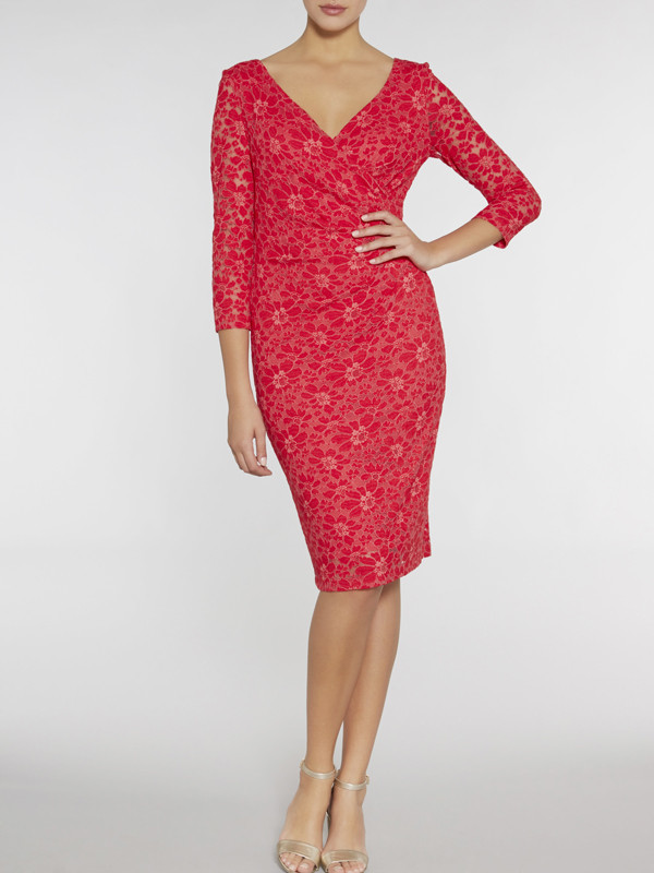 Gina Bacconi Red Stretch Lace Ruched Dress - style: shift; neckline: v-neck; fit: tight; predominant colour: true red; length: on the knee; fibres: cotton - mix; occasions: occasion; sleeve length: 3/4 length; sleeve style: standard; texture group: lace; pattern type: fabric; pattern size: standard; pattern: patterned/print; embellishment: lace; season: s/s 2016; wardrobe: event