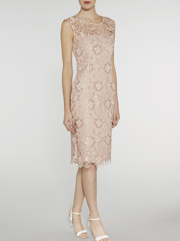 Gina Bacconi Apricot Bouquet Guipure Lace Shift Dress - style: shift; neckline: round neck; fit: tailored/fitted; sleeve style: sleeveless; predominant colour: champagne; length: on the knee; fibres: silk - mix; occasions: occasion; sleeve length: sleeveless; texture group: lace; pattern type: fabric; pattern size: standard; pattern: patterned/print; embellishment: lace; season: s/s 2016; wardrobe: event