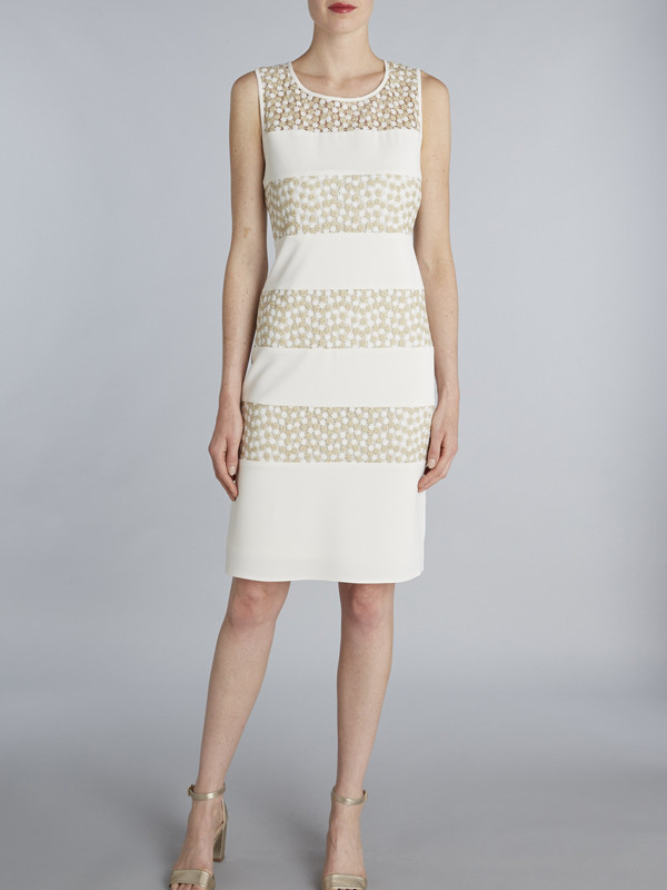 Gina Bacconi Gold Flower Embroidered Contrast Band Dress - style: shift; neckline: round neck; pattern: plain; sleeve style: sleeveless; predominant colour: ivory/cream; secondary colour: ivory/cream; length: on the knee; fit: body skimming; fibres: polyester/polyamide - stretch; occasions: occasion; sleeve length: sleeveless; texture group: knits/crochet; pattern type: knitted - fine stitch; season: s/s 2016; wardrobe: event