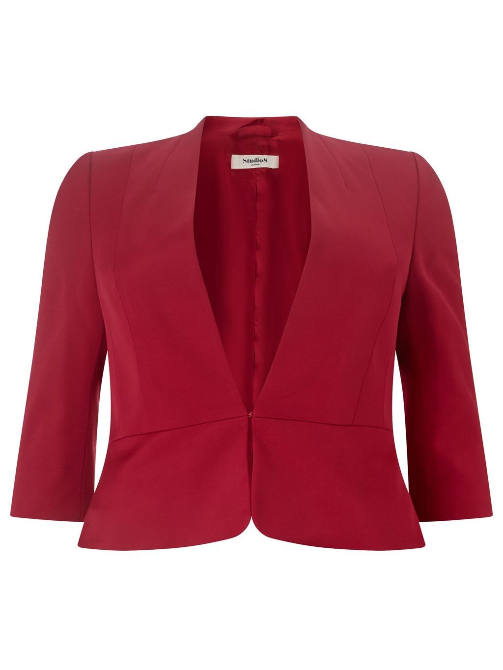 Odette Jacket, Pink - pattern: plain; style: single breasted blazer; collar: round collar/collarless; length: standard; fit: tailored/fitted; fibres: viscose/rayon - stretch; occasions: occasion; sleeve length: 3/4 length; sleeve style: standard; collar break: low/open; pattern type: fabric; texture group: woven light midweight; predominant colour: raspberry; season: s/s 2016; wardrobe: event