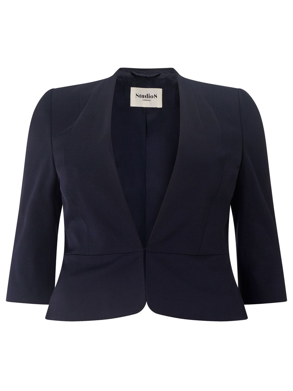 Odette Jacket, Navy - pattern: plain; style: single breasted blazer; collar: round collar/collarless; predominant colour: navy; occasions: evening, occasion; length: standard; fit: tailored/fitted; fibres: viscose/rayon - stretch; sleeve length: 3/4 length; sleeve style: standard; collar break: low/open; pattern type: fabric; texture group: woven light midweight; season: s/s 2016; wardrobe: event