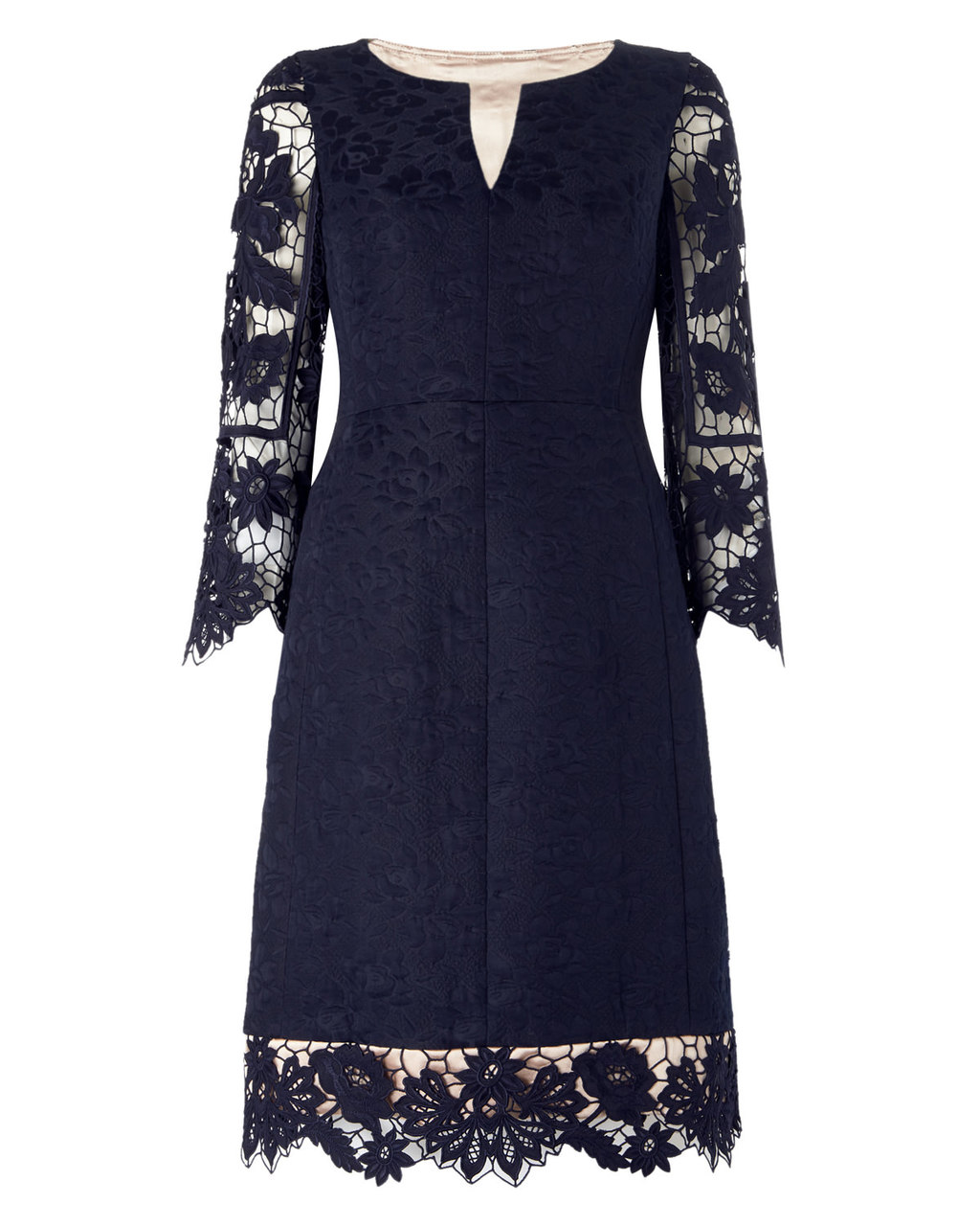 Dress Nine - style: shift; neckline: v-neck; fit: tailored/fitted; predominant colour: navy; length: on the knee; fibres: polyester/polyamide - 100%; occasions: occasion; sleeve length: 3/4 length; sleeve style: standard; texture group: lace; pattern type: fabric; pattern: patterned/print; embellishment: lace; season: s/s 2016