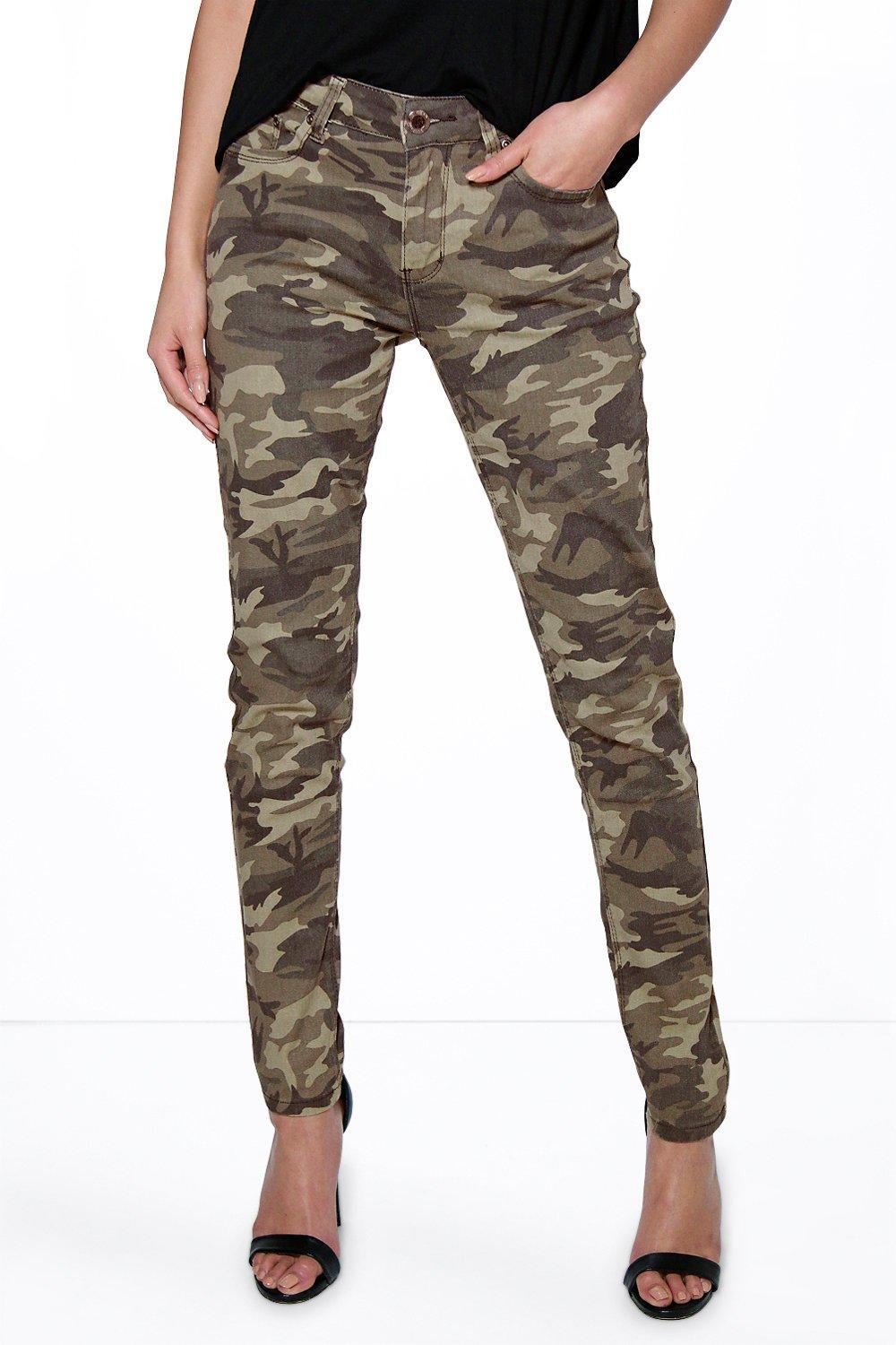 Camouflage Print Skinny Jeans Khaki - style: skinny leg; length: standard; waist: high rise; pocket detail: traditional 5 pocket; predominant colour: khaki; occasions: casual, creative work; fibres: cotton - 100%; texture group: denim; pattern type: fabric; pattern: camouflage; pattern size: big & busy (bottom); multicoloured: multicoloured; season: s/s 2016; wardrobe: highlight