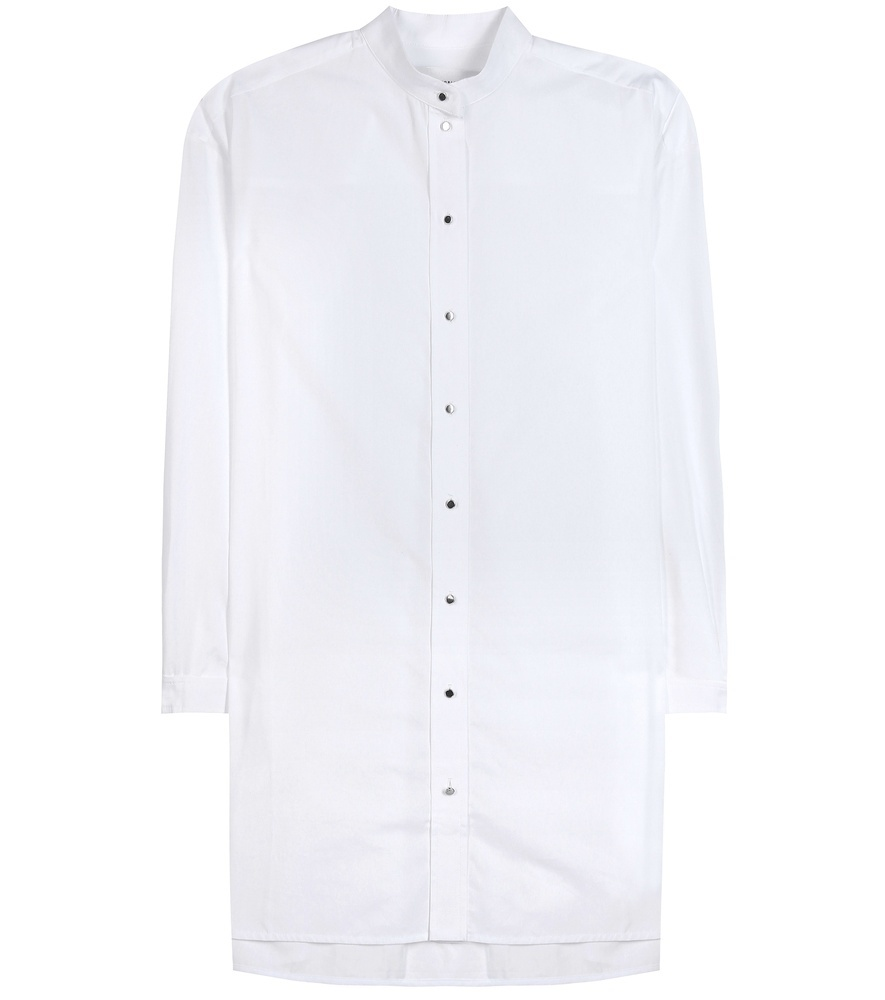 Cotton Shirt - neckline: shirt collar/peter pan/zip with opening; pattern: plain; style: shirt; bust detail: buttons at bust (in middle at breastbone)/zip detail at bust; predominant colour: white; occasions: casual, creative work; fibres: cotton - 100%; fit: straight cut; length: mid thigh; sleeve length: long sleeve; sleeve style: standard; pattern type: fabric; texture group: woven light midweight; season: s/s 2016; wardrobe: basic