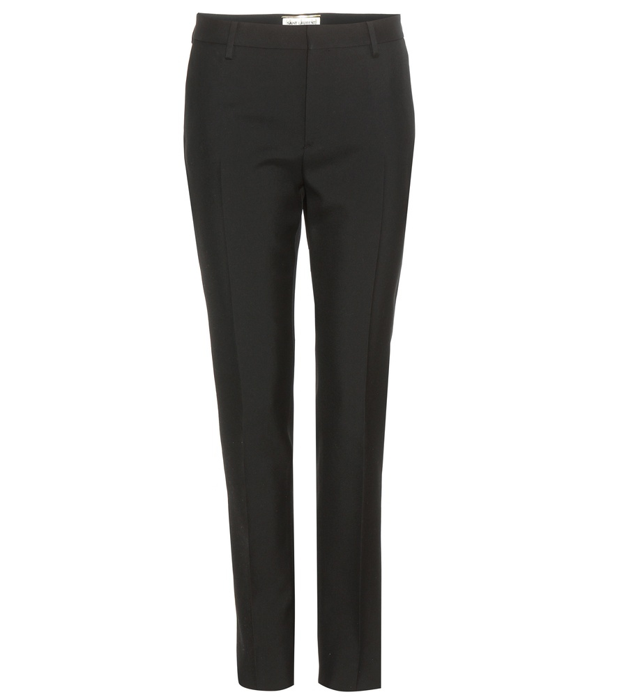 Wool Trousers - length: standard; pattern: plain; waist: mid/regular rise; predominant colour: black; occasions: work; fibres: wool - 100%; fit: slim leg; pattern type: fabric; texture group: woven light midweight; style: standard; season: s/s 2016; wardrobe: basic