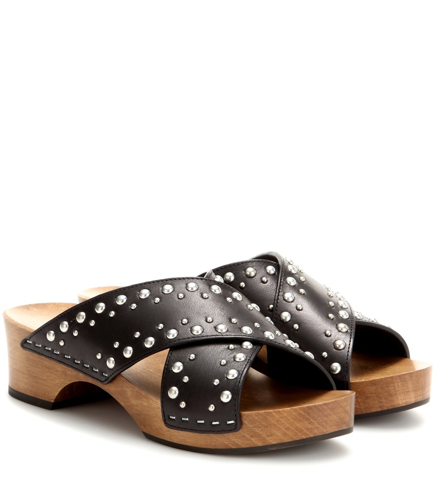 Embellished Leather Sandals - predominant colour: black; material: leather; heel height: mid; embellishment: studs; heel: block; toe: open toe/peeptoe; style: slides; occasions: holiday; finish: plain; pattern: plain; season: s/s 2016; wardrobe: highlight