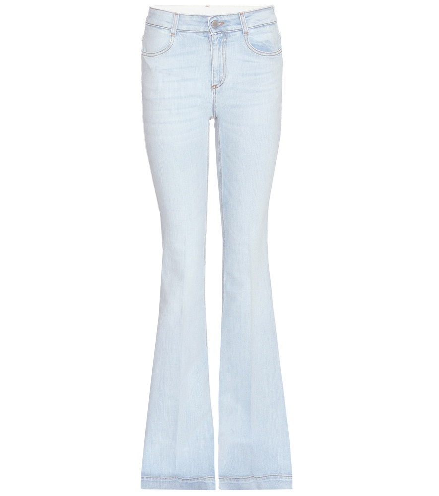 Flared Jeans - style: flares; length: standard; pattern: plain; waist: high rise; pocket detail: traditional 5 pocket; predominant colour: pale blue; occasions: casual; fibres: cotton - 100%; jeans detail: washed/faded; texture group: denim; pattern type: fabric; season: s/s 2016; wardrobe: basic