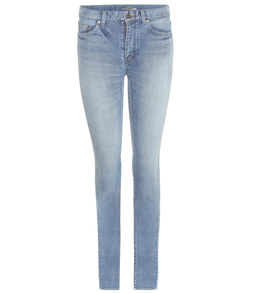 Skinny Jeans - style: skinny leg; length: standard; pattern: plain; pocket detail: traditional 5 pocket; waist: mid/regular rise; predominant colour: pale blue; occasions: casual; fibres: cotton - stretch; jeans detail: shading down centre of thigh; texture group: denim; pattern type: fabric; season: s/s 2016; wardrobe: basic
