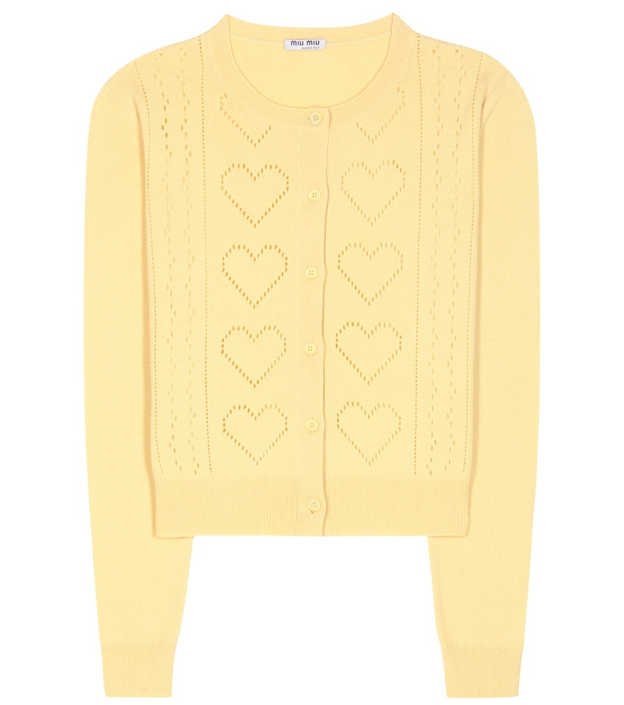 Cashmere Cardigan - neckline: round neck; pattern: plain; predominant colour: yellow; occasions: casual, work, creative work; length: standard; style: standard; fit: standard fit; fibres: cashmere - 100%; sleeve length: long sleeve; sleeve style: standard; texture group: knits/crochet; pattern type: knitted - fine stitch; season: s/s 2016; wardrobe: highlight