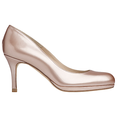 L.K.Bennett Sybila Platform Court Shoes, Champagne Patent - predominant colour: blush; occasions: evening, occasion; material: leather; heel height: high; heel: stiletto; toe: round toe; style: courts; finish: metallic; pattern: plain; shoe detail: platform; season: a/w 2015; wardrobe: event
