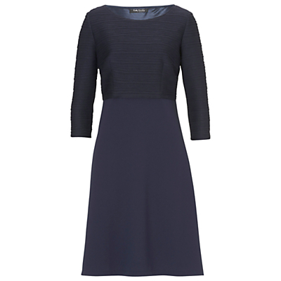 Rib And Crepe Dress, Navy Blue - style: shift; neckline: round neck; pattern: plain; predominant colour: navy; occasions: casual; length: just above the knee; fit: body skimming; fibres: polyester/polyamide - stretch; sleeve length: 3/4 length; sleeve style: standard; pattern type: fabric; texture group: jersey - stretchy/drapey; season: s/s 2016; wardrobe: basic