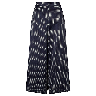 Pin Dot Wide Leg Culottes, Navy - waist: high rise; pattern: polka dot; predominant colour: navy; occasions: work, creative work; pattern type: fabric; texture group: other - light to midweight; fibres: viscose/rayon - mix; pattern size: big & busy (bottom); season: s/s 2016; style: culotte; wardrobe: highlight