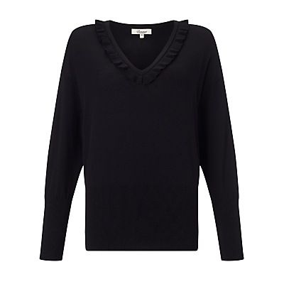 Frill Neck Jumper - neckline: v-neck; pattern: plain; style: standard; predominant colour: black; occasions: casual, creative work; length: standard; fit: loose; sleeve length: long sleeve; sleeve style: standard; texture group: knits/crochet; pattern type: knitted - fine stitch; fibres: viscose/rayon - mix; season: s/s 2016; wardrobe: basic