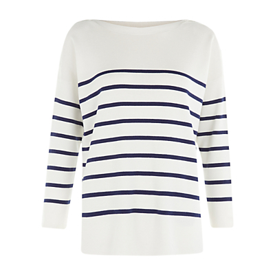 Striped Riley Jumper, Ivory/Blue - neckline: slash/boat neckline; pattern: horizontal stripes; style: standard; predominant colour: white; secondary colour: navy; occasions: casual, creative work; length: standard; fibres: cotton - mix; fit: loose; sleeve length: long sleeve; sleeve style: standard; texture group: knits/crochet; pattern type: knitted - fine stitch; pattern size: standard; season: s/s 2016; wardrobe: highlight