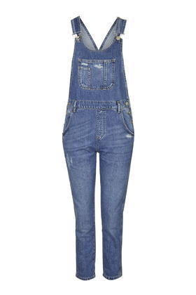 Moto Long Denim Dungaree - sleeve style: standard vest straps/shoulder straps; pattern: plain; predominant colour: denim; occasions: casual, creative work; length: ankle length; fit: body skimming; neckline: scoop; fibres: cotton - 100%; sleeve length: sleeveless; texture group: denim; style: dungarees; pattern type: fabric; trends: tomboy girl; season: s/s 2016; wardrobe: highlight