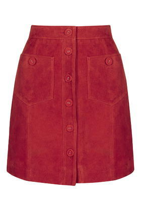 Tall Button Suede Skirt - length: mini; pattern: plain; fit: body skimming; hip detail: front pockets at hip; waist: high rise; predominant colour: true red; occasions: casual, creative work; style: mini skirt; fibres: leather - 100%; pattern type: fabric; texture group: suede; trends: glossy girl; season: s/s 2016; wardrobe: highlight