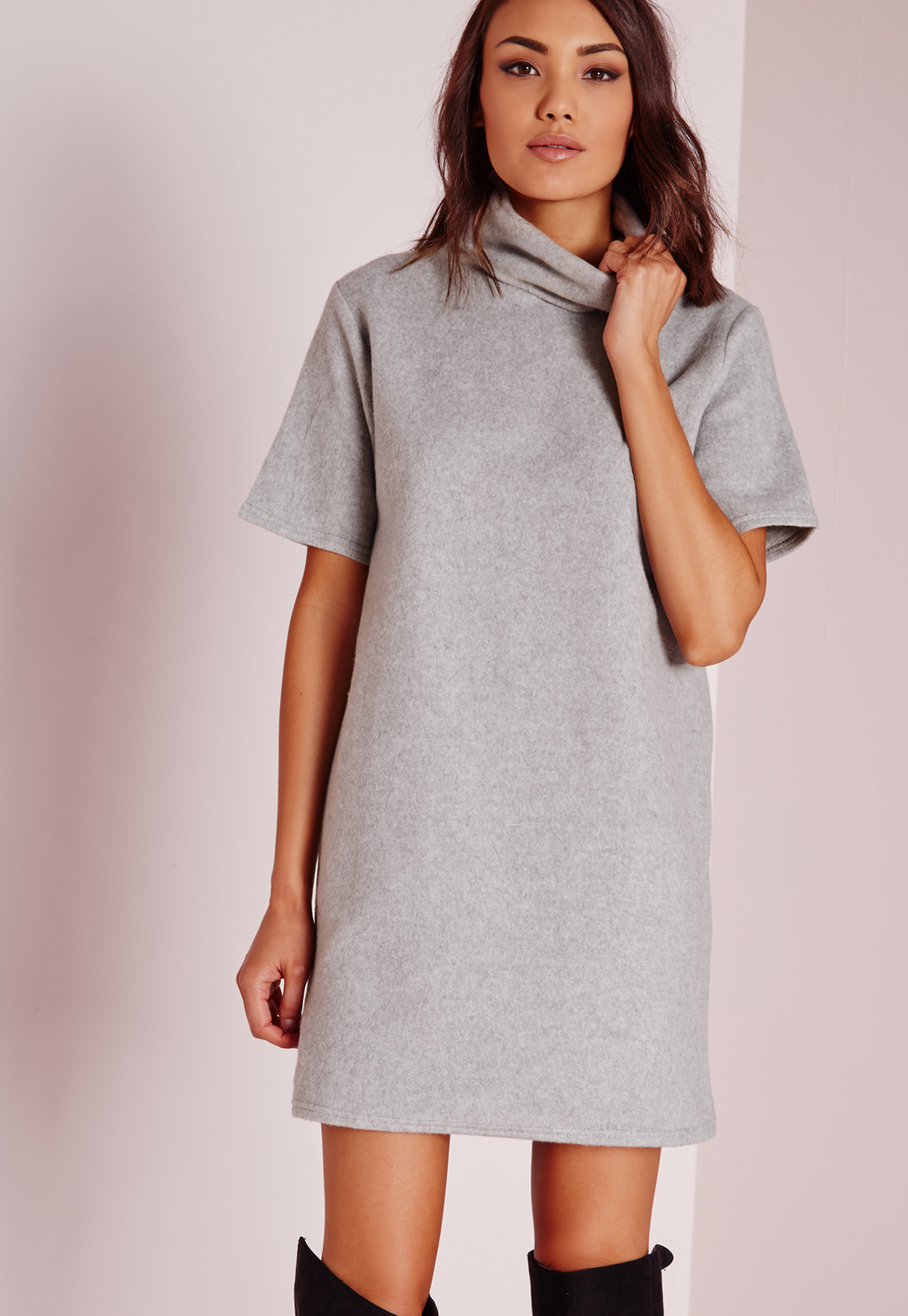 Roll Neck Short Sleeve Fleecy Jumper Dress Grey, Grey - style: jumper dress; length: mini; neckline: high neck; predominant colour: light grey; occasions: casual; fit: straight cut; fibres: polyester/polyamide - stretch; sleeve length: short sleeve; sleeve style: standard; texture group: knits/crochet; pattern type: knitted - other; pattern size: light/subtle; pattern: marl; season: s/s 2016; wardrobe: basic