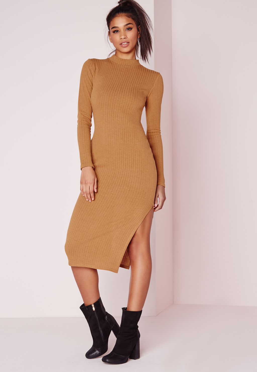 Long Sleeve Midi Dress Camel Rib, Brown - length: calf length; fit: tight; pattern: plain; neckline: high neck; style: bodycon; hip detail: draws attention to hips; predominant colour: camel; occasions: evening; fibres: polyester/polyamide - stretch; sleeve length: long sleeve; sleeve style: standard; texture group: jersey - clingy; pattern type: fabric; season: s/s 2016; wardrobe: event