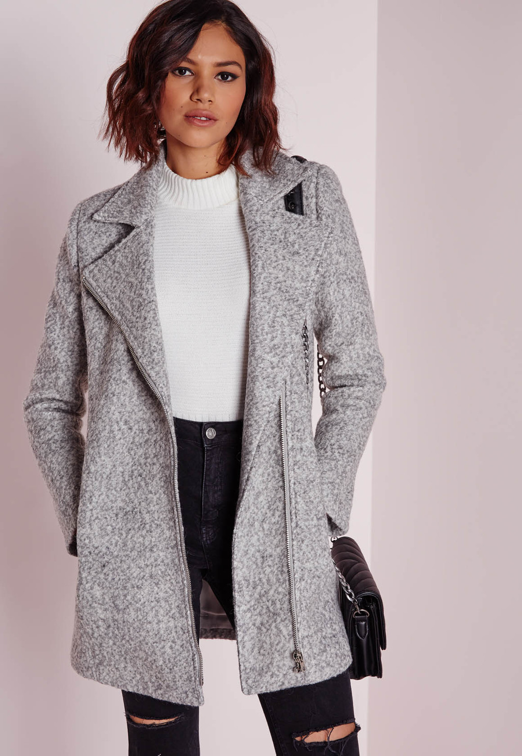 Biker Coat Grey Marl, Grey - pattern: plain; collar: asymmetric biker; style: double breasted; length: mid thigh; predominant colour: light grey; occasions: casual, work, creative work; fit: tailored/fitted; fibres: wool - mix; sleeve length: long sleeve; sleeve style: standard; collar break: medium; pattern type: fabric; texture group: woven bulky/heavy; season: s/s 2016; wardrobe: basic