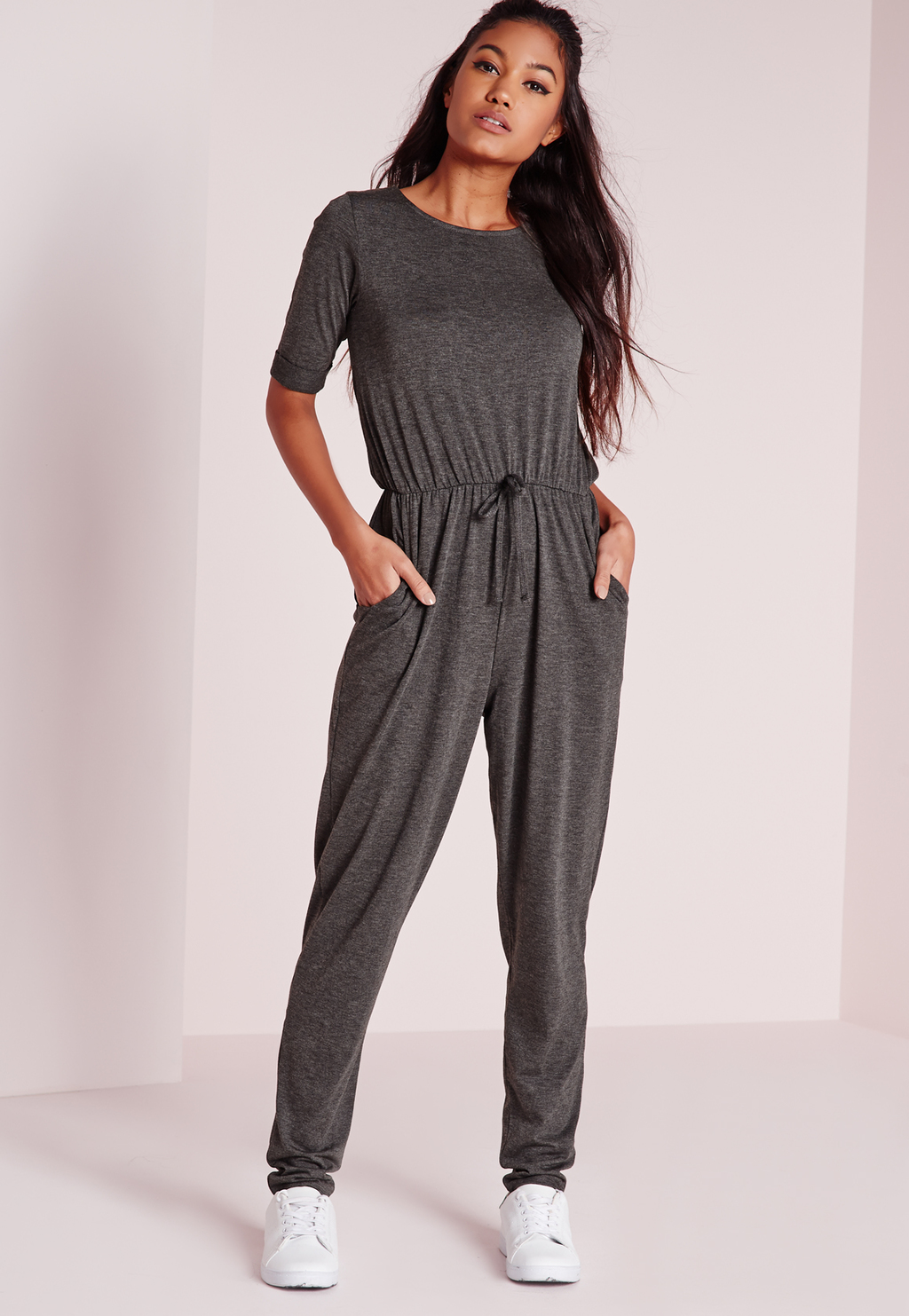 Drawstring Jumpsuit Grey, Grey - length: standard; pattern: plain; waist detail: belted waist/tie at waist/drawstring; predominant colour: mid grey; occasions: casual; fit: body skimming; fibres: viscose/rayon - stretch; neckline: crew; sleeve length: short sleeve; sleeve style: standard; style: jumpsuit; pattern type: fabric; texture group: jersey - stretchy/drapey; season: s/s 2016; wardrobe: highlight