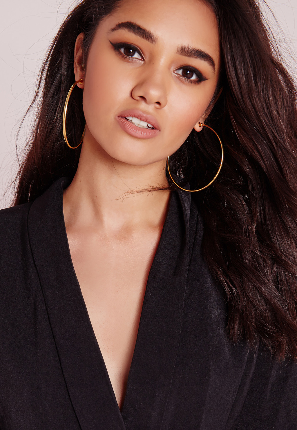Classic Hoop Earrings Gold, Gold - predominant colour: gold; occasions: evening, occasion; style: hoop; length: long; size: large/oversized; material: chain/metal; fastening: pierced; finish: metallic; season: s/s 2016; wardrobe: event
