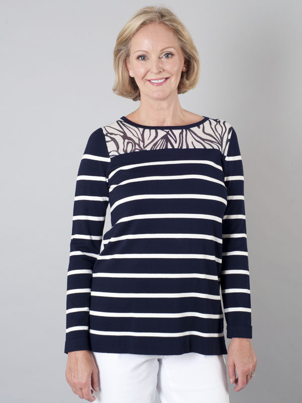 Betty Barclay Navy & Ivory Stripe Jumper - neckline: round neck; length: below the bottom; style: standard; secondary colour: white; predominant colour: navy; occasions: casual, creative work; fit: standard fit; sleeve length: long sleeve; sleeve style: standard; texture group: knits/crochet; pattern type: knitted - fine stitch; pattern size: standard; pattern: patterned/print; fibres: viscose/rayon - mix; season: s/s 2016