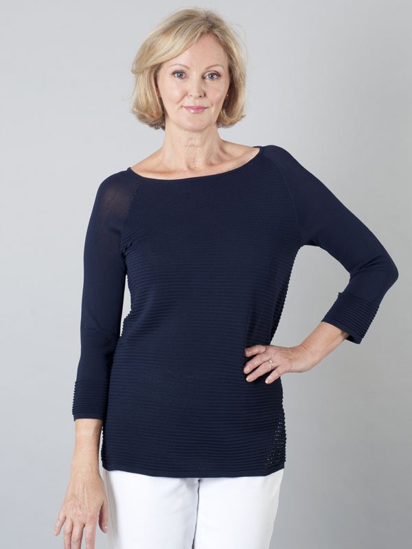 Betty Barclay Navy Rib Knit Tunic - neckline: round neck; pattern: plain; length: below the bottom; predominant colour: navy; occasions: casual, work, creative work; style: top; fit: body skimming; sleeve length: 3/4 length; sleeve style: standard; texture group: knits/crochet; pattern type: knitted - fine stitch; fibres: viscose/rayon - mix; season: s/s 2016; wardrobe: basic