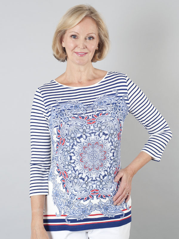 Betty Barclay Multi Print Jersey Top - neckline: round neck; predominant colour: navy; occasions: casual; length: standard; style: top; fibres: viscose/rayon - stretch; fit: body skimming; sleeve length: 3/4 length; sleeve style: standard; pattern type: fabric; pattern: patterned/print; texture group: jersey - stretchy/drapey; pattern size: big & busy (top); season: s/s 2016