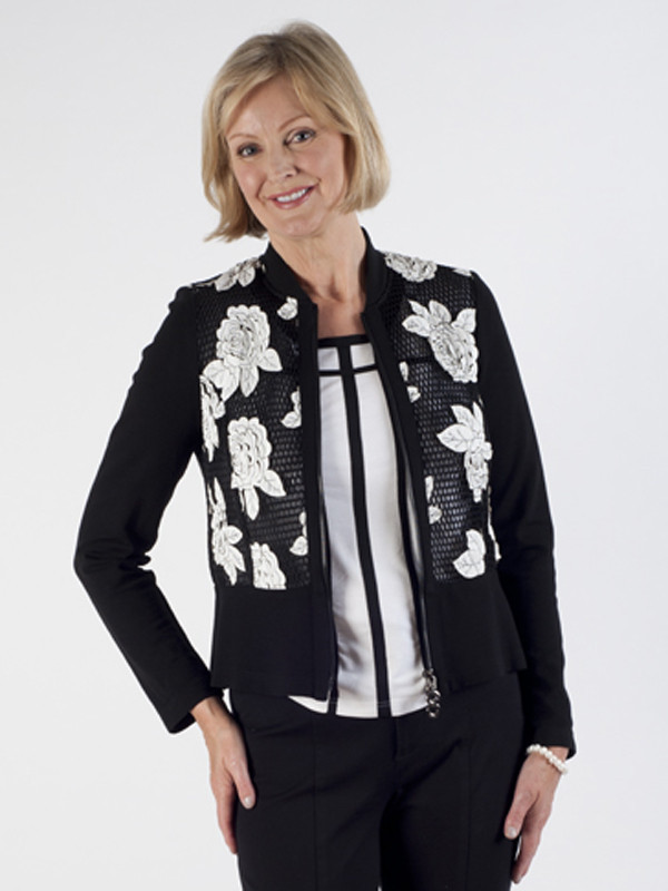 Frank Walder Roses Appliqué Jacket - collar: round collar/collarless; style: boxy; secondary colour: white; predominant colour: black; length: standard; fit: straight cut (boxy); fibres: polyester/polyamide - 100%; occasions: occasion; sleeve length: long sleeve; sleeve style: standard; collar break: low/open; pattern type: fabric; pattern size: standard; pattern: patterned/print; texture group: woven light midweight; embellishment: embroidered; season: s/s 2016; wardrobe: event