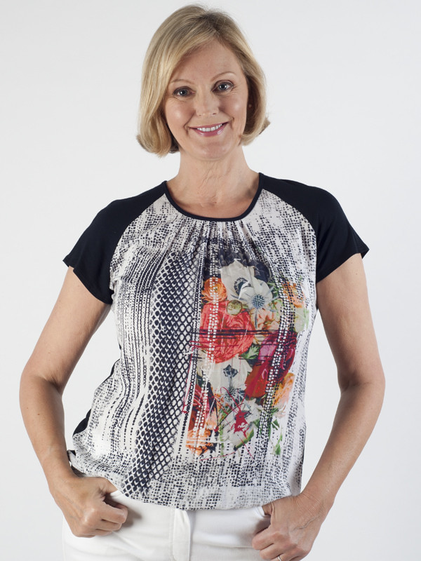 Frank Walder Silky Front Top - neckline: round neck; sleeve style: raglan; predominant colour: black; occasions: casual, creative work; length: standard; style: top; fibres: viscose/rayon - stretch; fit: body skimming; sleeve length: short sleeve; texture group: sheer fabrics/chiffon/organza etc.; pattern type: fabric; pattern: patterned/print; pattern size: big & busy (top); season: s/s 2016; wardrobe: highlight
