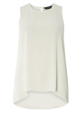 Womens Ivory Dip Hem Shell Top White - neckline: round neck; pattern: plain; sleeve style: sleeveless; length: below the bottom; predominant colour: white; occasions: casual, creative work; style: top; fibres: polyester/polyamide - 100%; fit: loose; hip detail: soft pleats at hip/draping at hip/flared at hip; back detail: longer hem at back than at front; sleeve length: sleeveless; texture group: sheer fabrics/chiffon/organza etc.; pattern type: fabric; season: s/s 2016