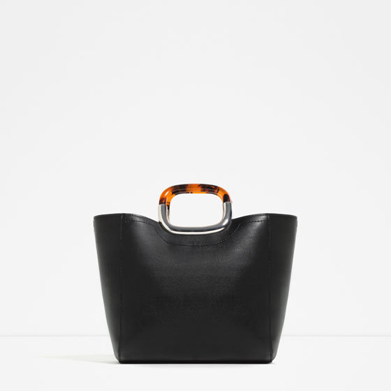 Tote With Handle Detail - predominant colour: black; occasions: work, creative work; type of pattern: standard; style: tote; length: handle; size: standard; material: faux leather; pattern: plain; finish: plain; season: s/s 2016