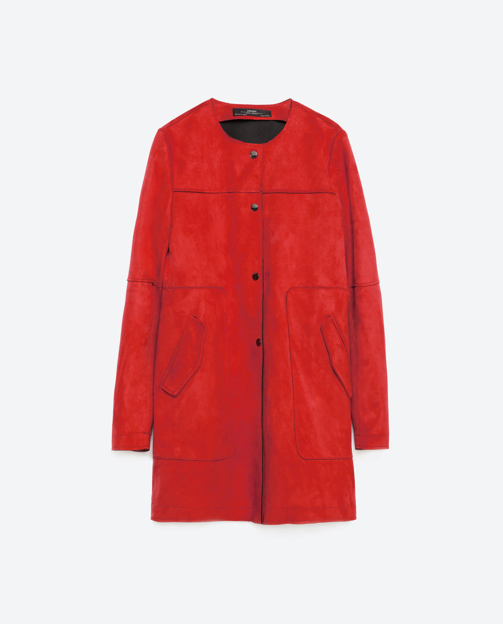 Red Suede Effect Coat - pattern: plain; collar: round collar/collarless; style: single breasted; length: mid thigh; predominant colour: true red; occasions: casual, creative work; fit: straight cut (boxy); fibres: polyester/polyamide - 100%; sleeve length: long sleeve; sleeve style: standard; collar break: high; pattern type: fabric; texture group: suede; season: s/s 2016; wardrobe: highlight