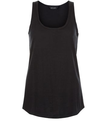 Black Basic Vest - sleeve style: standard vest straps/shoulder straps; pattern: plain; style: vest top; predominant colour: black; occasions: casual; length: standard; neckline: scoop; fibres: cotton - mix; fit: body skimming; sleeve length: sleeveless; pattern type: fabric; texture group: jersey - stretchy/drapey; season: s/s 2016; wardrobe: basic