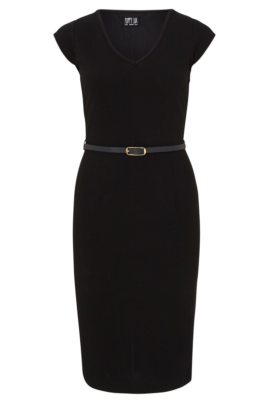 Kirsty Dress, Black - style: shift; neckline: v-neck; sleeve style: capped; fit: tight; pattern: plain; waist detail: belted waist/tie at waist/drawstring; predominant colour: black; occasions: evening, work; length: on the knee; fibres: polyester/polyamide - stretch; sleeve length: short sleeve; pattern type: fabric; texture group: other - light to midweight; season: s/s 2016; wardrobe: investment
