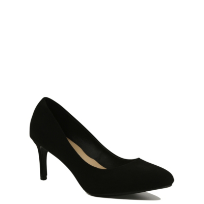 Faux Suede Court Heels Black - predominant colour: black; occasions: evening; heel height: high; heel: stiletto; toe: pointed toe; style: courts; finish: plain; pattern: plain; material: faux suede; season: s/s 2016; wardrobe: event