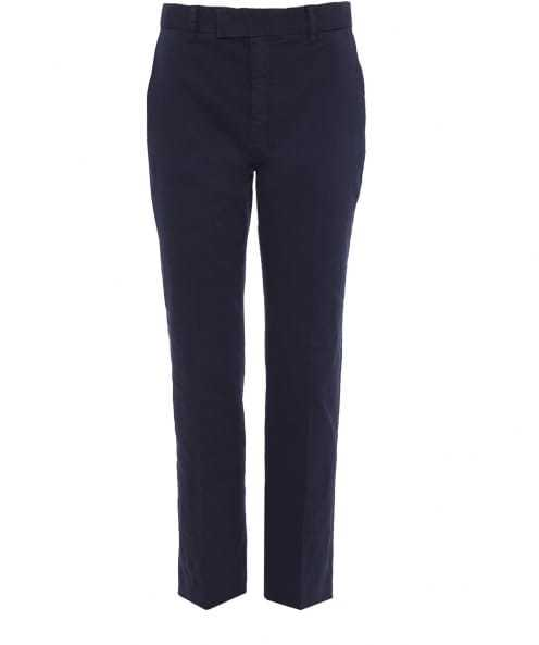 Cropped Formal Trousers - pattern: plain; waist: mid/regular rise; predominant colour: navy; occasions: casual, creative work; length: ankle length; fibres: cotton - stretch; fit: straight leg; pattern type: fabric; texture group: other - light to midweight; style: standard; season: s/s 2016; wardrobe: basic